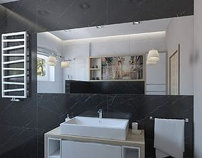 3D model Outstanding shower room with black marble tiles