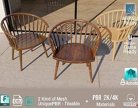 3D asset PBR Various Options Wooden Coffee Chair - 2