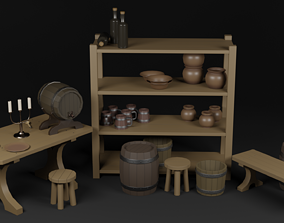 3D model low-poly Interior objects collection