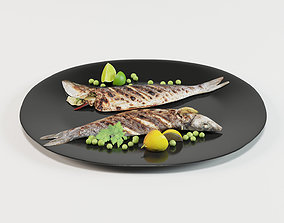 3D asset Grilled Whole Fish