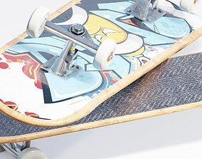 well modeled skateboard 3D asset
