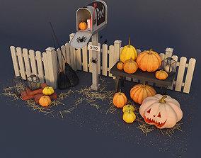 Decorative group Halloween bricks 3D