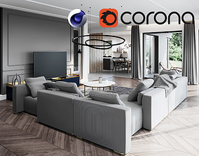 Living Room and Kitchen Scene for Cinema 4D and 3D model 2