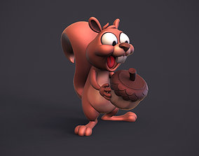 Excited squirrel 3D print model