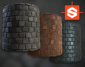 Procedural PBR Cobblestone Texture 3D asset