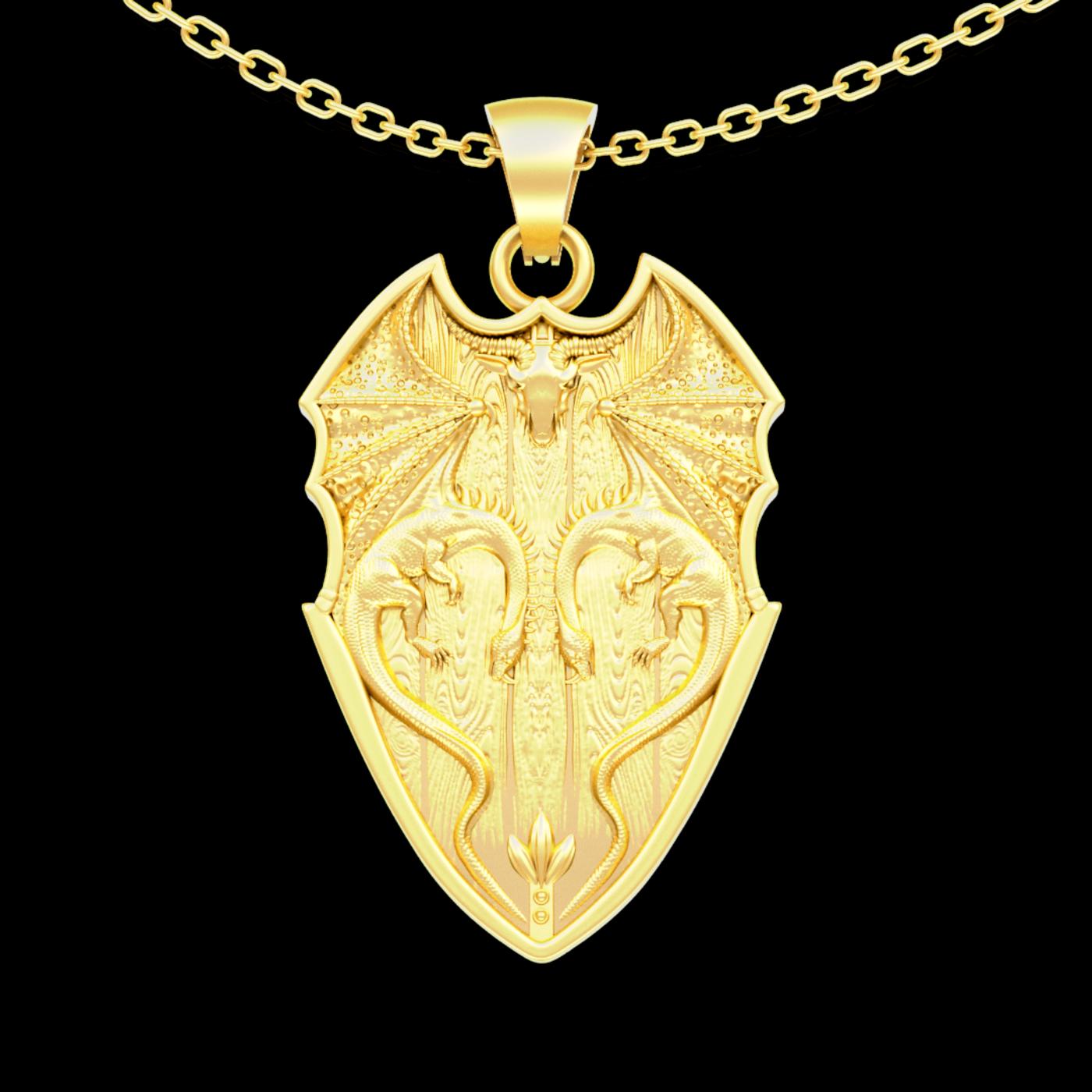 Dragon Shield Pendant jewelry Gold 3D print model