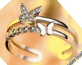 BUTTERFLY RING 3D printable model diamond-ring