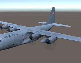 low-poly Lockheed C130 Hercules aircraft lowpoly 3d model