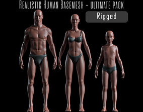 3D model Realistic Human Body Basemesh - UVMapped - Rigged