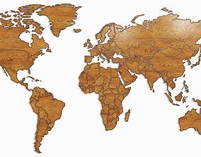 World map geography 3D model