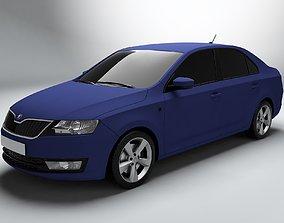 Skoda Rapid Matte Blue model 3D model