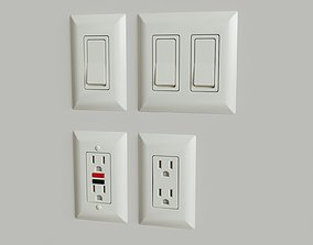 US Light Switches and Power Outlets 3D