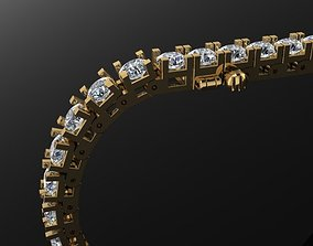 Box Style Diamond Tennis Bracelet 3mm50 3D printable model