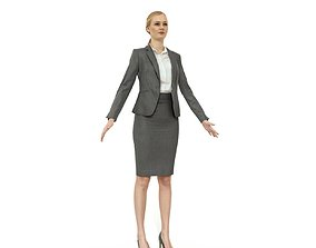 3D model Business woman in a grey skirt suit