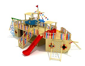Wood Ship Playground 002 3D