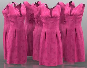 3D model Shiny Pink Flower Dress