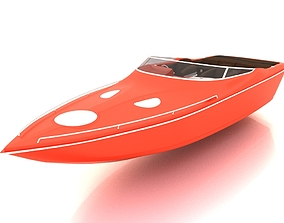 Speed boat 3D model low-poly classic