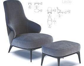 ottoman 3D model Minotti Leslie Armchair