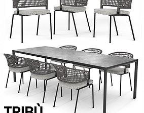 3D model TRIBU Contour Armchair and ILLUM table