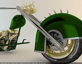 chrome engine chopper motorcycle 3D model
