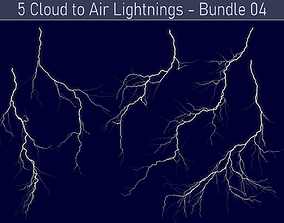 Realistic Lightnings Bundle 04 - 5 pack CA 3D