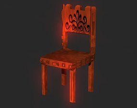 3D asset Classic wooden castle chair