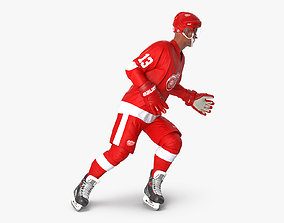 Hockey Player Detroit Red Wings Rigged for Maya 3D