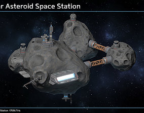 Scifi Modular Asteroid Space Station 3D model