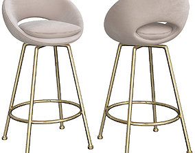 3D model Orb Upholstered Bar Counter Stools