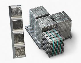 3D model Aluminium Zinc Nickel Silver Titan Steel ingot 13