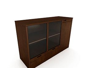 Wood And Glass Cabinet 3D model