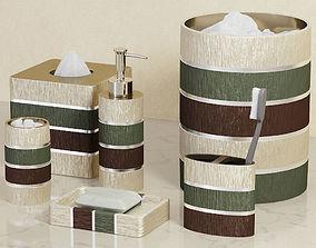 Modern Line Sage Striped Bath Accessories 3D model