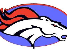 3D Denver Broncos logo in oval