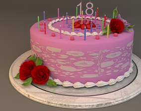Cake Birthday girl 3D model