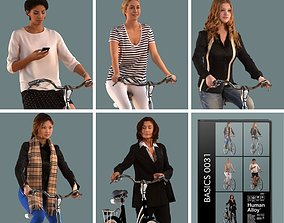 low-poly set of 3D women on bicycles low-poly 3D models