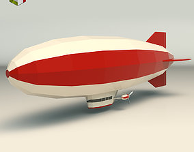 Low Poly Zeppelin 01 3D asset low-poly