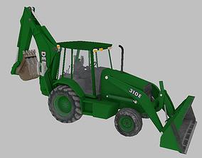 Farm Tractor Deere 310E 3D lowpoly model VR / AR ready