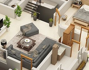 3D FLOOR PLAN OF 1 KANAL RESIDENCE FIRST FLOOR PLAN