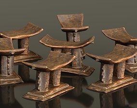 3D asset Headrest Africa Wood Furniture Prop 26