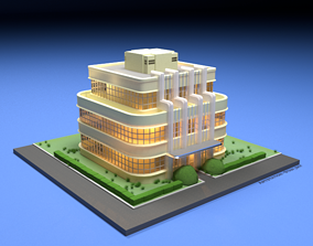 3D model Art Deco House - With texture game-ready