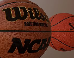 3D asset Official Basket Balls Wilson and Spalding low 2