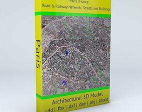 Paris Railway System Road Network Streets and 3D model 1