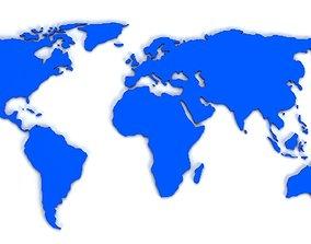 World map flat 3D asset