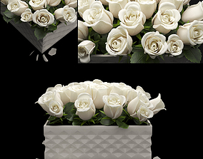 3D model white flowerbox