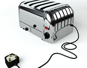 Five Slotted Silver Toaster 3D