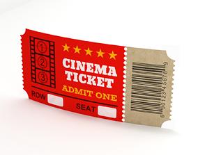 retro Cinema Ticket-2 3D model
