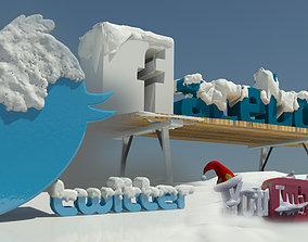3D Social media winter Logos teams