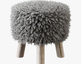 3D Luxury Gotland sheepskin stool