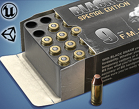 low-poly Pistol cartridges ammunition pack - 3D VR AR game