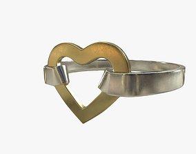 Heart Ring Gold Silver 3D asset